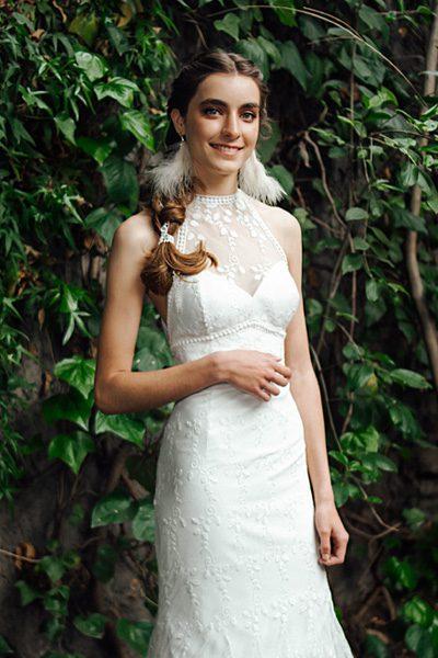 Vestido novia sireta, tipo halter