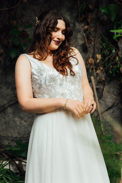 Vestido de novia plateado