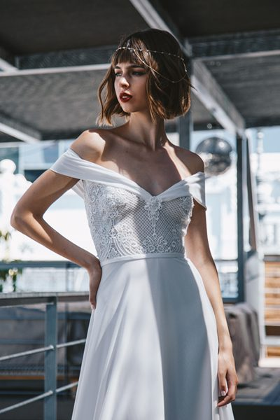 Vestido de novia off the shoulder